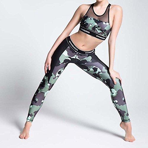 MAYUAN520 Yoga Hosen Damen Hosen Capri Sport Hosen mit hoher Taille Camouflage Hose Laufen Gym Leggings Leggings Compression Frauen Yoga