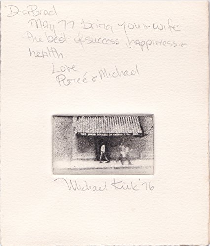 (AUTOGRAPH NOTE SIGNED BY RENEE ROCKOFF ILLUSTRATED WITH AN ORIGINAL SIGNED ETCHING BY MICHAEL KIRK.)