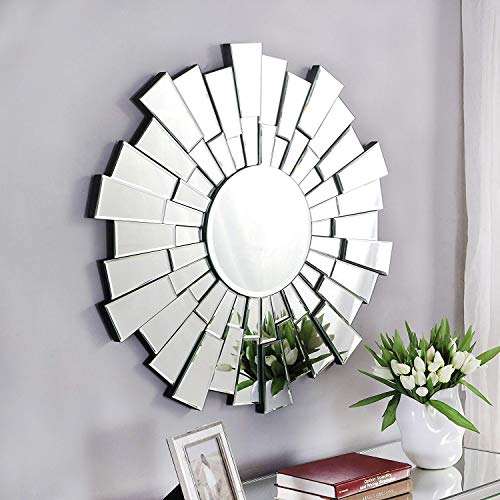 GA Home Antiqued Sunburst Round Frameless Wall Mirror, Modern Boho Decor for The Living Room, Bathroom, Bedroom, and Entryway - Silver Finish (Living Room Wall Mirrors)