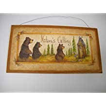 ... The Little Store Of Home Decor. Natures Calling Country Bathroom Sign  Outhouse Lodge Bath Decor Moon Stars Bears Size 7x13