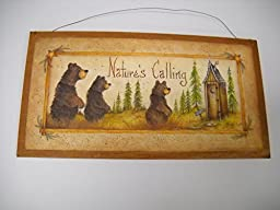 Natures Calling Country Bathroom Sign Outhouse Lodge Bath Decor Moon Stars Bears size 7x13