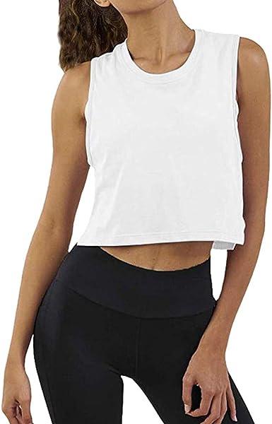 POLP Camisetas sin Mangas Gym Mujer Camisas Deportivas Ropa de Fitness Chica Tops de Yoga Ejercicio Rosa Negro Blanco S M L XL XXL: Amazon.es: Ropa y accesorios