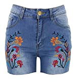 Women's Shorts, High Waist Frayed Raw Hem Embroidered Floral Denim Jean Shorts for Women, Light Blue, Tag Size M = US 4