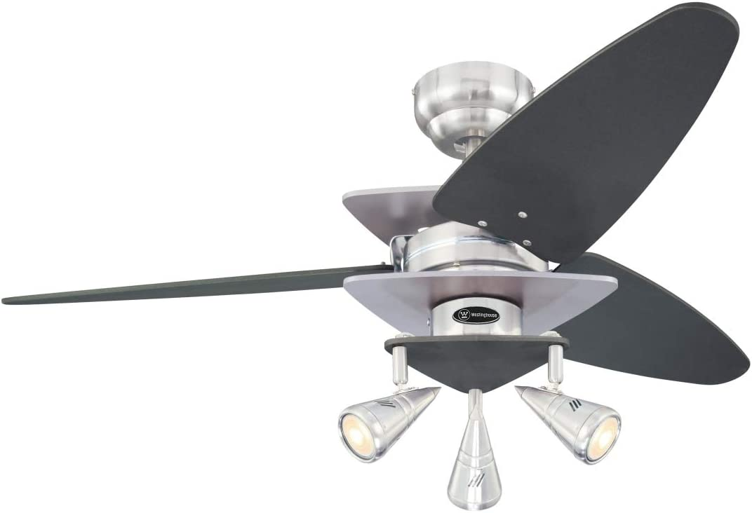 Westinghouse Lighting Vector Elite Three-Light, 42-Inch Three-Blade Ceiling Fan, Brushed Nickel 72358