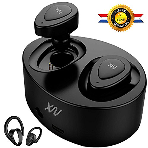 XIAOWU True Wireless Earbuds Bluetooth Earphone Dual V4.1 Bluetooth Headphones with Built-in Mic and Charging Case Noise Cancelling Stereo Mini Headset for iPhone Samsung iPad Android (black)