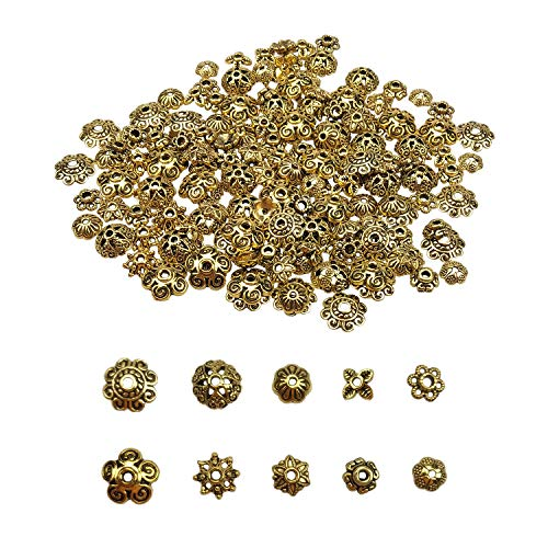 200PCS Assorted Antique Bronze Alloy Flower Metal Bead Caps 6-10mm for Jewelry Making with 5 Styles by SkyCooool ()
