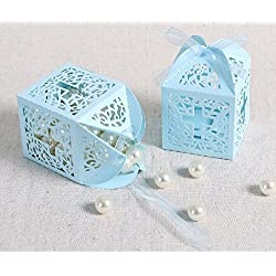 Joinwin®New Design 50 Pack Cross Laser Cut Favor Box Christening Baby Shower Bomboniere with Ribbons Party Favors (Blue)