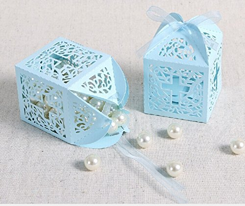 Blue Favor Boxes - Joinwin®New Design 50 Pack Cross Laser Cut Favor Box Christening Baby Shower Bomboniere with Ribbons Party Favors (Blue)
