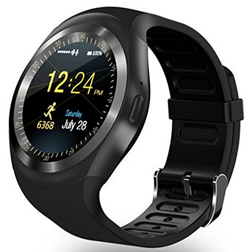 Y10 Bluetooth Smart Watche Sports Fitness Smart Wristband Pedometer Watch Touch Screen with SIM Slot for Apple Sumsung Vivo Phones (Black)