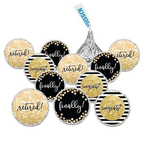 Andaz Press Glitzy Faux Gold Glitter Retirement Party Chocolate Drop Labels, Retired! Finally! Congrats!, 240-Pack, Not Real Glitter, Fits Hershey's Kisses Party Favors Colored Supplies