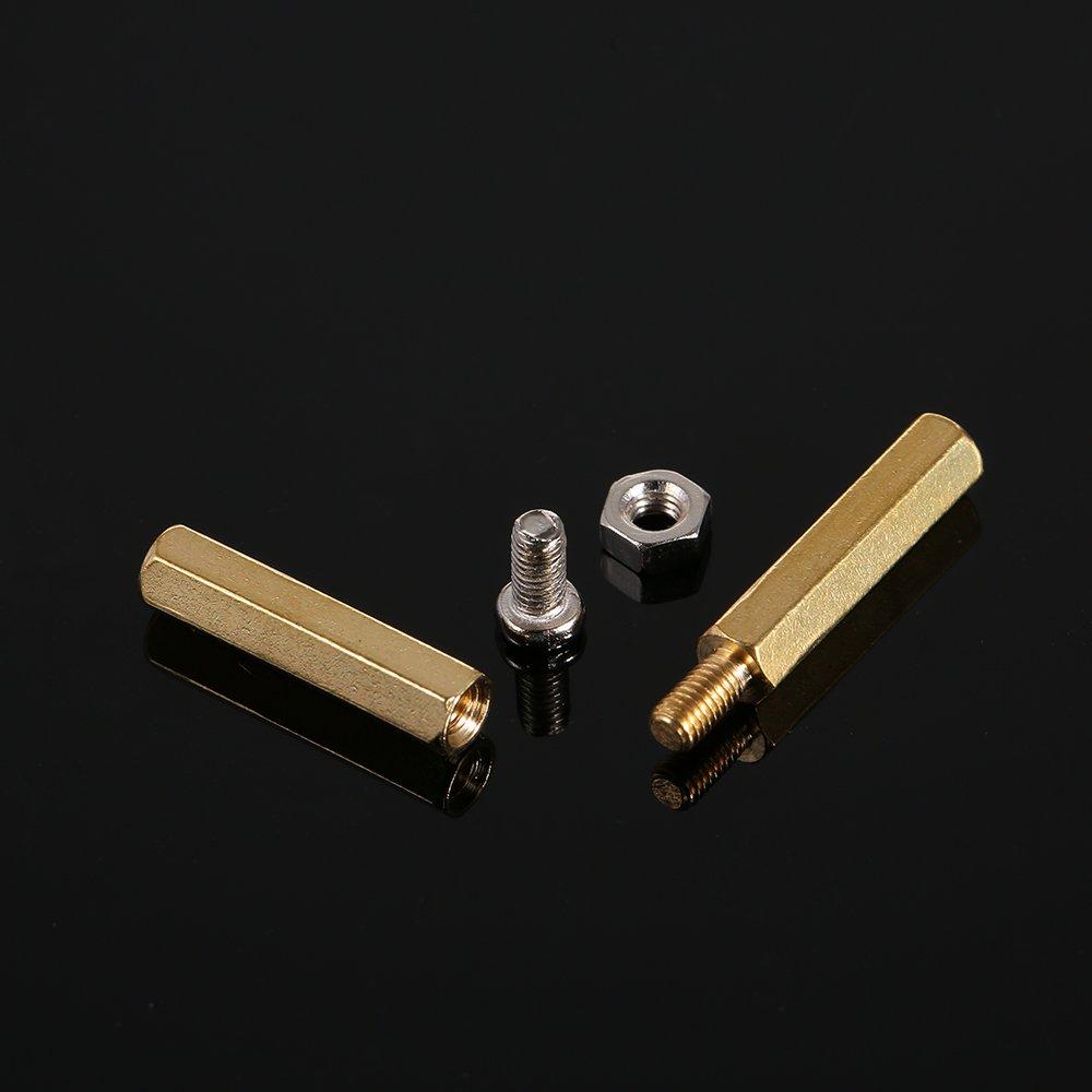 Kkmoon 120pcs M3 Pcb Hex Male Female Threaded Brass Standoffs Long Copper Silver Pillars Standoff Circuit Board Nut Screw Bolt Motherboard Assortment Set Diy