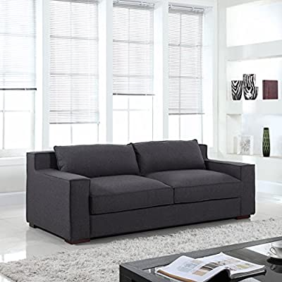 Modern Capri Linen Sofa with Real Goose Feathers and Wide Track Arm Rests