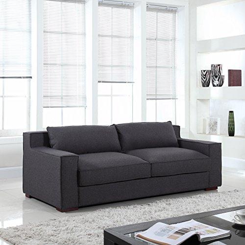 Divano Roma Furniture   Modern Capri Linen Sofa With Wide Track Arms (Dark  Grey)