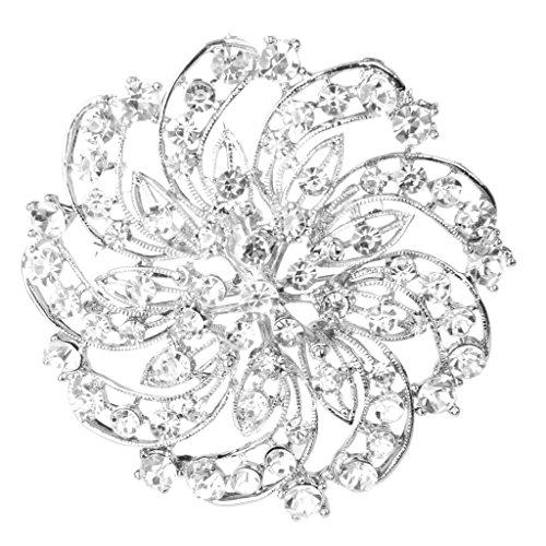 Shining Rhinestone Flower Bridal Wedding Party Brooch Pin