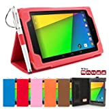 Nexus 7 2 Case, Snugg™ - Smart Cover with Flip Stand & Lifetime Guarantee (Red Leather) for Nexus 7 2