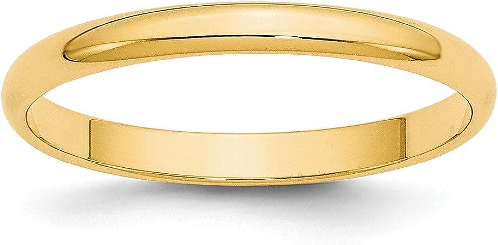 14K Yellow Gold 2.5mm Lightweight Half Round Band Ring