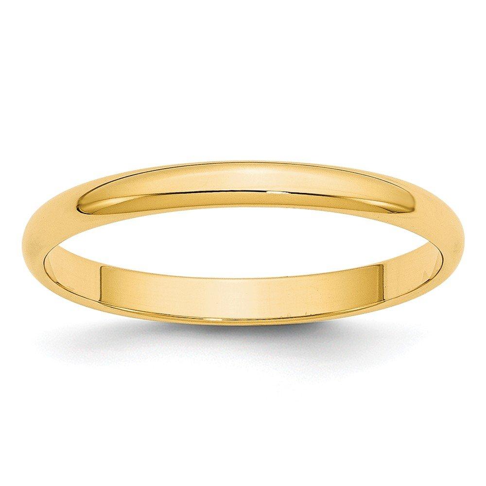 Best Designer Jewelry 14KY 2.5mm LTW Half Round Band Size 8