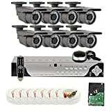 GW Security VD8CH8C50WD 8 Channel 960H DVR Surveillance Camera System with 8 x 700 TVL 2.8-12 mm Varifocal 196-Feet IR Day/Night Outdoor Security Camera (Grey)