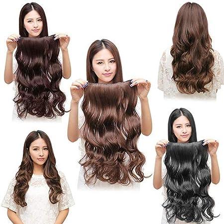 5 clips de pelucas sint/éticas P12cheng Pelucas rizadas largas 60 cm marr/ón claro extensiones de pelo largo ondulado rizado peluca ondulada para mujer color negro