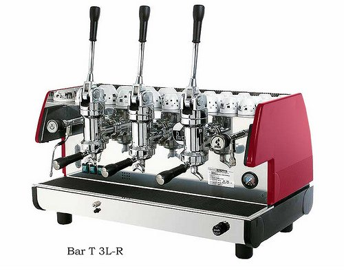 La Pavoni Bar T 3L-R Lever Espresso Coffee Machine with Chromed Brass Groups, Ruby Red, 22.5 liter boiler, Manual boiler water charge button, Anti-vacuum valve, Manometer for the boiler pressure control