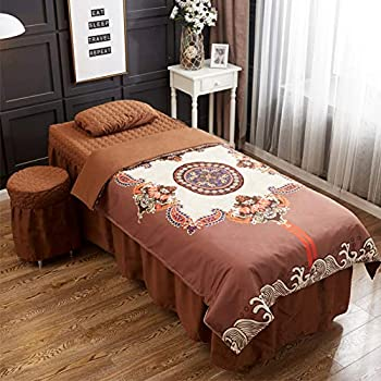 Image of Home and Kitchen ALHBNAY Premium Massage Bed Cover, Beauty Salon Spa Acupuncture Chiropractic Physiotherapy Bed Linen Bed Skirt Sheet(Round Head)-BrownB 60x180cm(24x71inch)