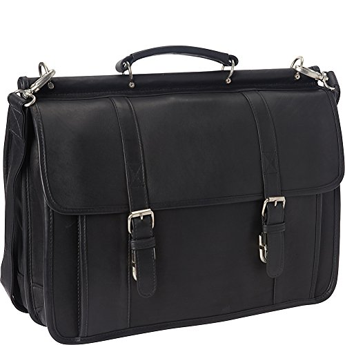 Le Donne Leather Classic Dowel Rod Laptop Briefcase (Black)