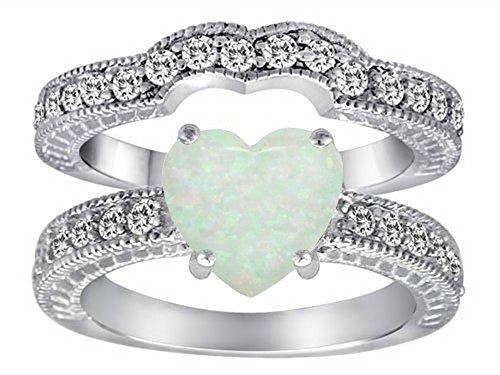 Star K 8mm Heart-Shape Simulated Opal Wedding Set - Heart Shape Wedding Ring Set