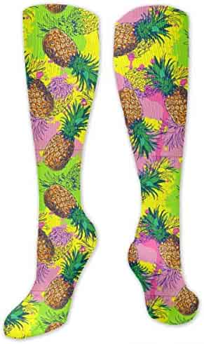 2d95e9a6467b4 Unisex Pineapple And Color Splash Pattern Knee High Compression Thigh High  Socks Soccer Tube Sock