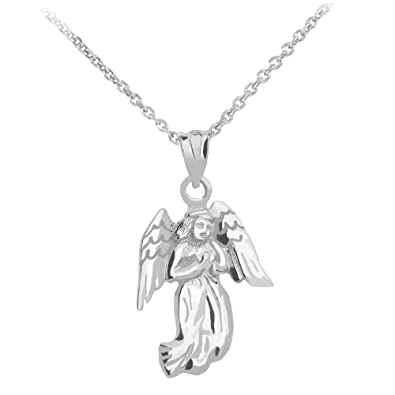 Amazon angel pendant with necklace in 14k white gold 16 jewelry aloadofball Image collections