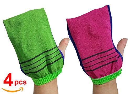 (Beauty Skin Double-Sided Viscos Exfoliating Bath Towel Gloves 4pcs)