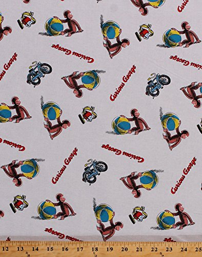 (Cotton Curious George Playing Ball Monkey White Cotton Fabric Print by The Yard (D673.45))
