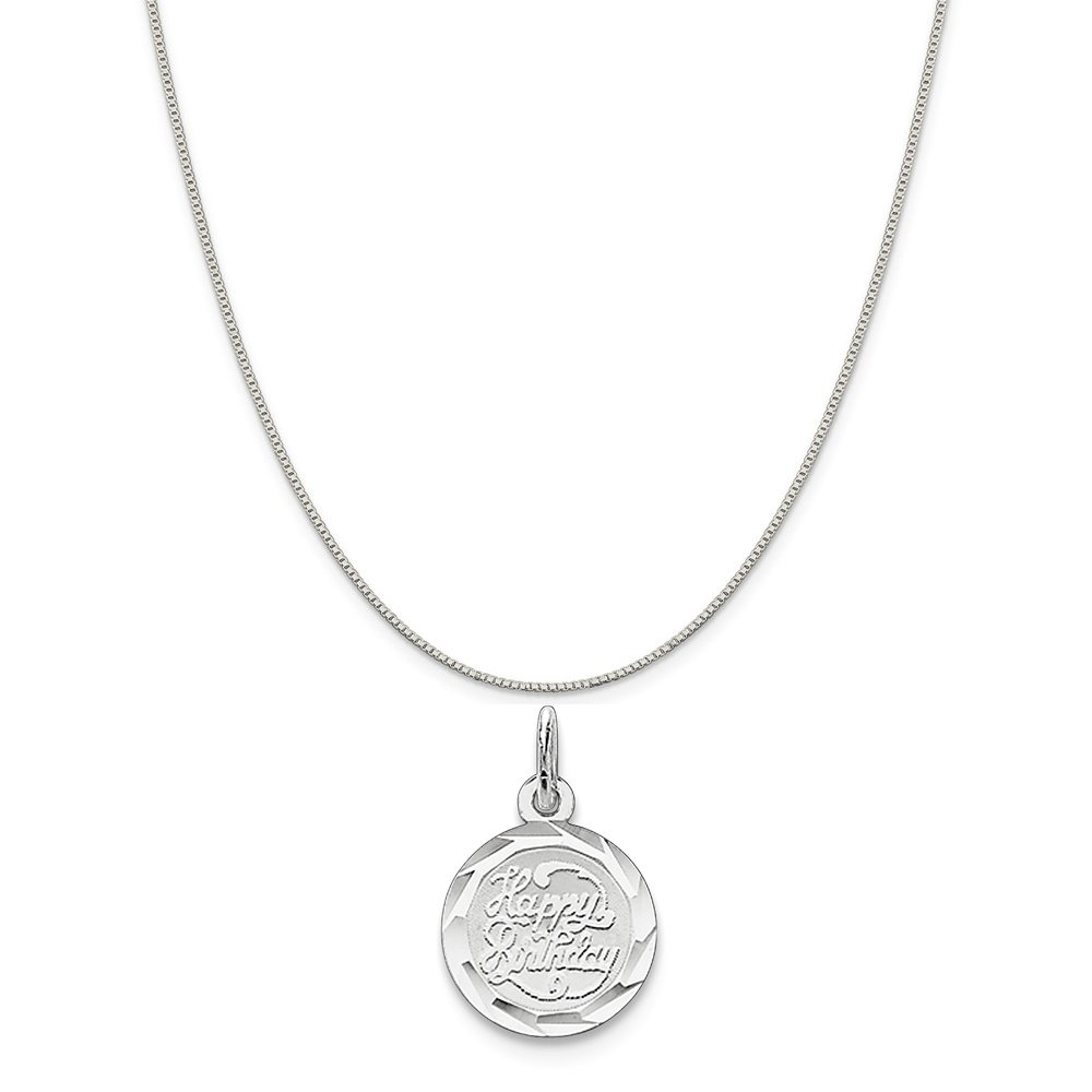 16-20 Sterling Silver Happy Birthday Disc Charm on a Sterling Silver Chain Necklace