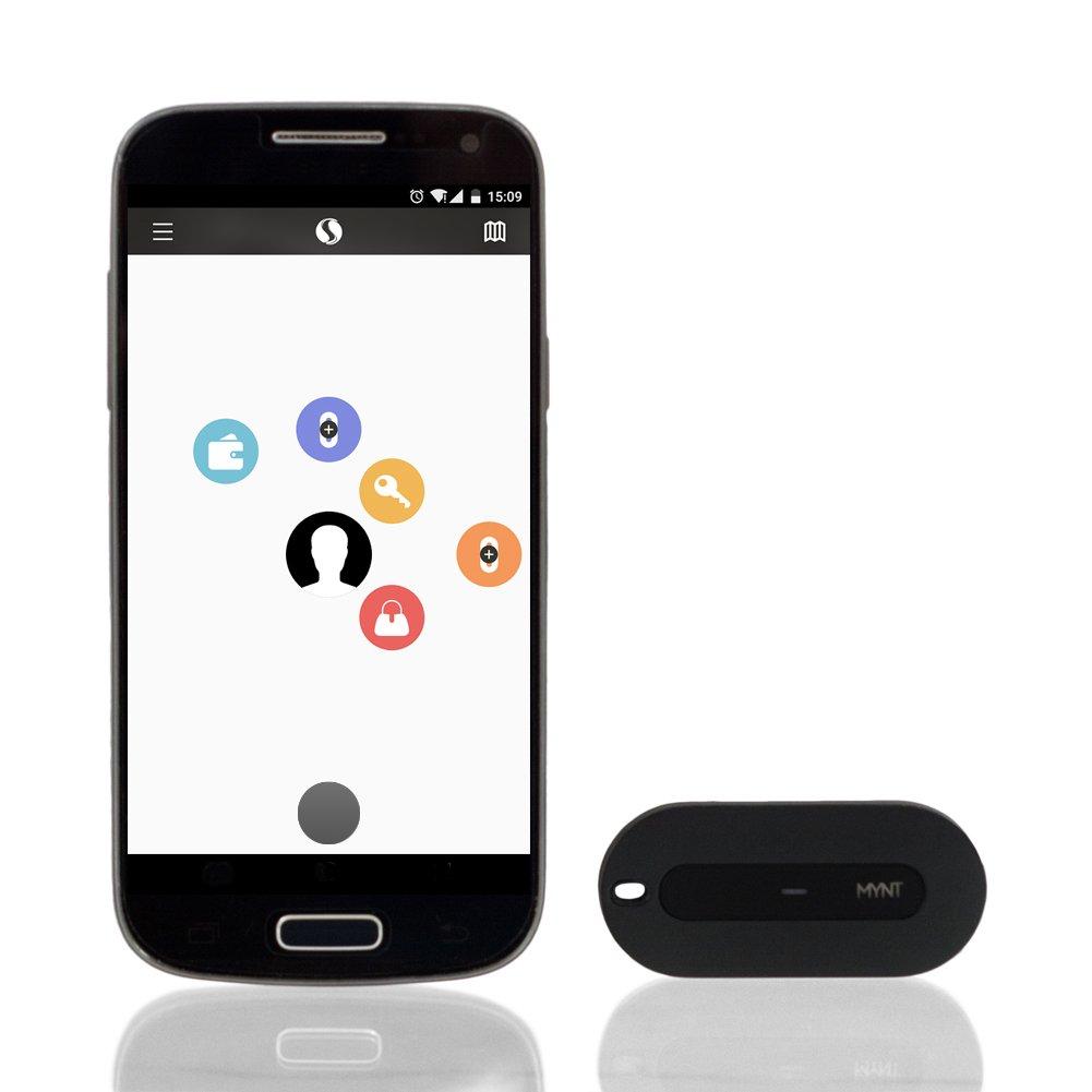 MYNT Smart Tracker, Finder di oggetti e Remoto - Indossabile con Shell in acciaio inossidabile: Finder chiave, tracker Wallet, prevenzione perdita, individuazione dell'animale domestico, puntatore di Mac Clicker, Remote Selfie (nero)