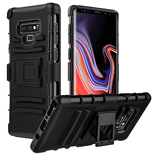 MoKo Samsung Galaxy Note 9 Case, Shock Absorbing Hard Cover Ultra Protective Heavy Duty Case with Holster Belt Clip + Built-in Kickstand Fit with Samsung Galaxy Note 9 (2018) 6.4 Inch - Black
