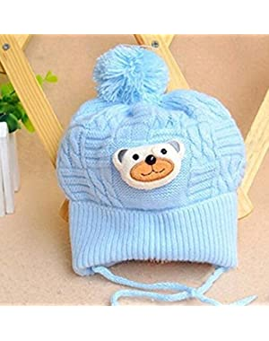 Cute Cartoon Bear Shape Headgear Cashmere Cap for Baby Boys Girls (Blue)