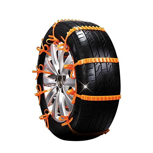 Leaftree Cars Vehicle Truck Off-Road SUV Safe Snow Tire Wheel Chain Anti-Skid Belt Yellow