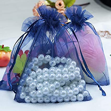 Amazon.com: XLPD 100Pcs/Lot Navy Organza Bag 7X9cm Drawable ...