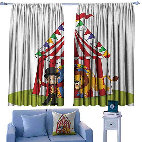 Breezeway Tent - Mannwarehouse Circus Decor Durable Curtain Cartoon Lion Jumping Through Ring with Circus Tent Celebration Show Darkening and Thermal Insulating 55