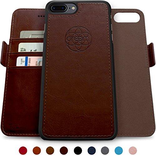 Dreem Fibonacci 2-in-1 Wallet-Case for iPhone 8-Plus & 7-Plus, Magnetic Detachable PC Slim-Case, Luxury Vegan Leather, RFID Protection, Smart 2-Way Stand, Gift-Box - Coffee