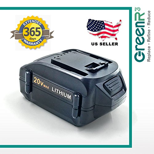 Greenr3 1 Pack 4000Mah 4 0Ah Battery For Worx Wa3578 Fits Wg Ws Wa Wx 20V Gt Air Drill Driver Trimmer Blower Cleaner Mower Jig Saw Chainsaw Model Series Cordless Power Tool Lithium Li Ion Part More