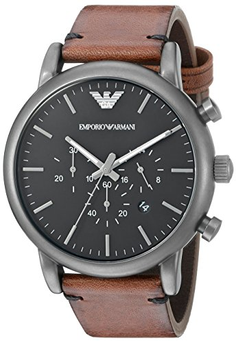 Emporio Armani Men's AR1919 Dress Brown Leather - Mens Armani Emporio
