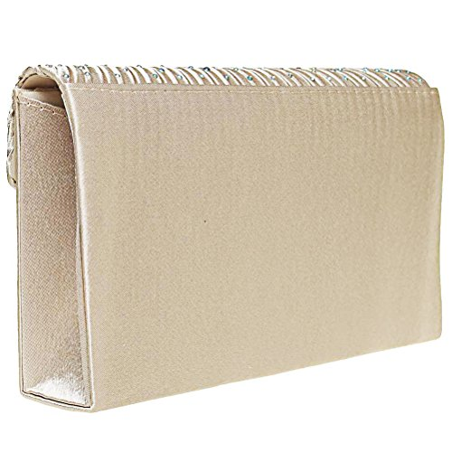 Fashion Road Women Satin Clutch, Rhinestone Evening Clutch, Envelope Clutch Purse, Pleated Flap Handbag for Wedding, Party and Prom Apricot by FASHIONROAD (Image #4)