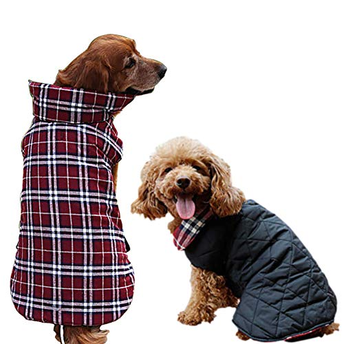 G Lake Plaid Dog Jackets British Style Winter Coat Warm Waterproof Windproof Reversible Dog Vest Cloth for Cold Weather Size Small Medium Large (Red XXL)