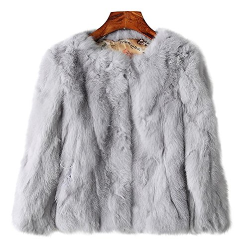 ETHEL ANDERSON Rabbit Fur Coat, Genuine Rabbit Fur Coat Women's Fluffy Fur Warm Coat Waistcoat Outwear]()
