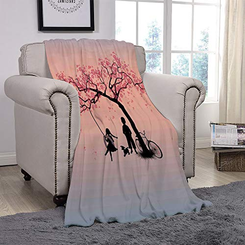 SCOCICI Super Soft Throw Blanket/Tree of Life,Children Playing on a Tire Swing Under Cherry Tree with Dog Blossom Spring Art,Pink Black/for Couch Bed Sofa for Adults Teen Girls Boys -