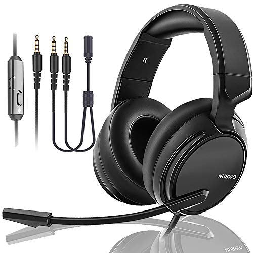 NUBWO N12 Gaming Headset & Xbox one Headset & PS4 Headset,3.5mm Surround Stereo Gaming Headphones with Mic Soft Memory Earmuffs for PC,Laptop,Video Game with Flexible Microphone Volume Control ()