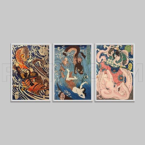 Monsters 3 Pieces Ukiyo-e Japanese Art Katsushika Hokusai Vintage Canvas Print Poster 4050cm3pcs Frame