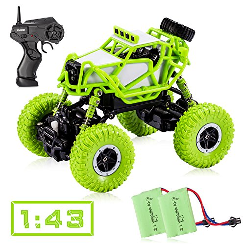 Tobeape RC Car, 4WD Offroad Remote Control Car, 1/43 Scale High Speed RC Truck, Best Birthday Christmas Gift for Kids and Adults (2 Rechargeable Batteries Included) - Green