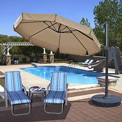 (Island Umbrella NU6545 Freeport Octagon Cantilever with Valance in Sunbrella Acrylic, 11', Beige)