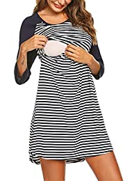 Women s Maternity Dress Nursing Nightgown for Breastfeeding Nightshirt  Sleepwear S-XL 1dcbe5785